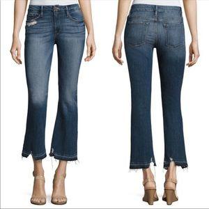 FRAME Le Crop Mini Boot Distress Jeans